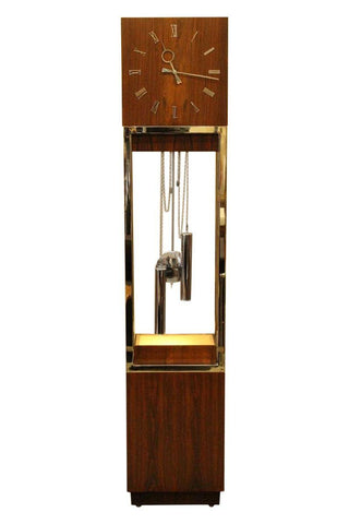 Mid-Century Rosewood & Chrome Grandfather Clock