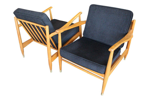 Danish Modern Oak Lounge Chairs - A Pair