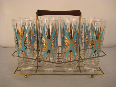 Set 8 Atomic Starburst Glasses with Caddy