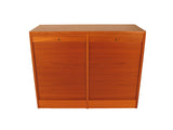Teak Danish Locking File Cabinet with Tambour Doors