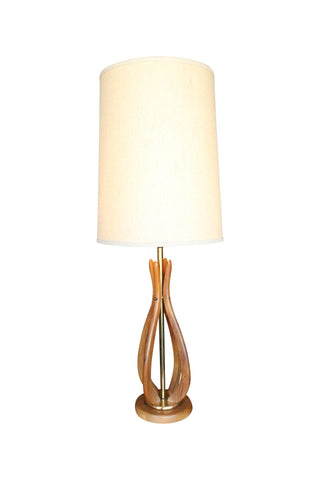 Mid-Century Danish Modern Sculpted Teak Table Lamp
