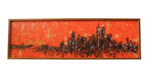 Mid-Century Orange Cityscape by Van Lowe