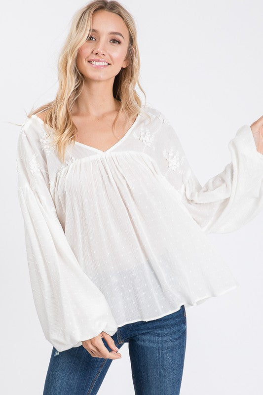 POLKA DOT EMBROIDERED BOHO TOP