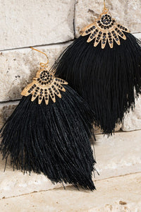 TASSEL RINESTONE DANGLE EARRINGS