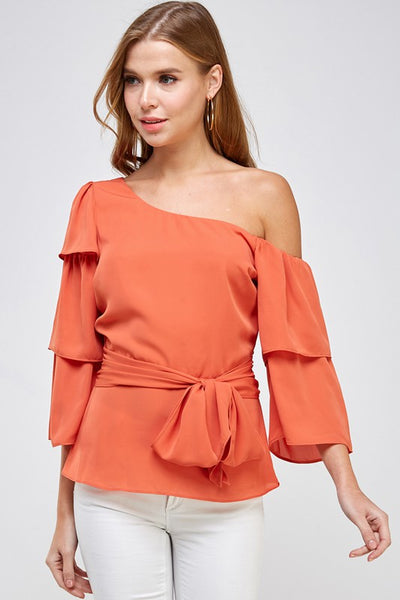 ONE OFF THE SHOULDER RUFFLE SLEEVE TOP