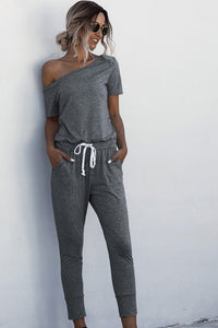 ONE SHOULDER GRAY JUMPSUIT