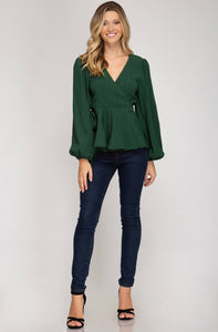 GREEN TEXTURED WRAP TOP