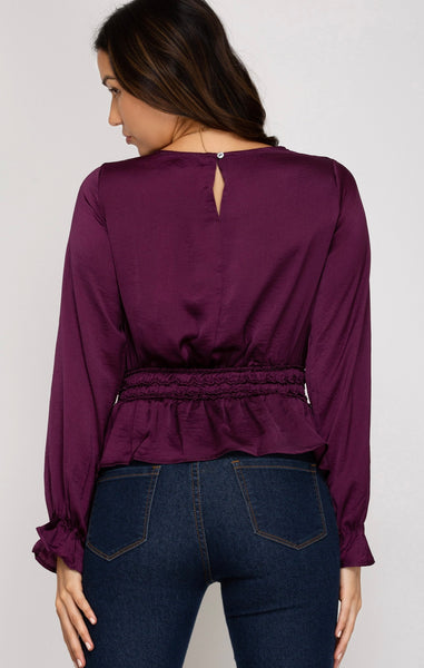 PLUM SATIN PEPLUM TOP