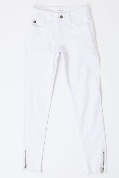 WHITE SIDE ZIPPER DENIM
