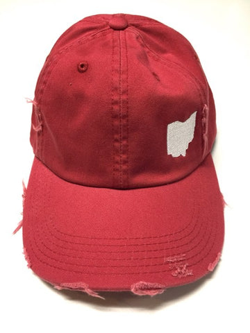 RED/GREY DISTRESSED OHIO HAT