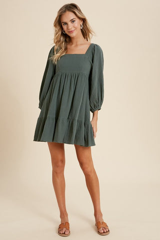 OLIVE GREEN BABYDOLL DRESS
