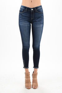 MID WAIST ANKLE SKINNY DENIM WITH SIDE ZIPPER