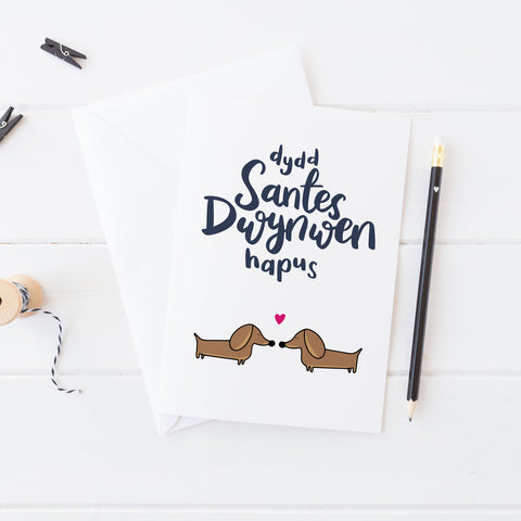 Love card 'Dydd Santes Dwynwen Hapus' Welsh St Dwynwen's day - dachshunds