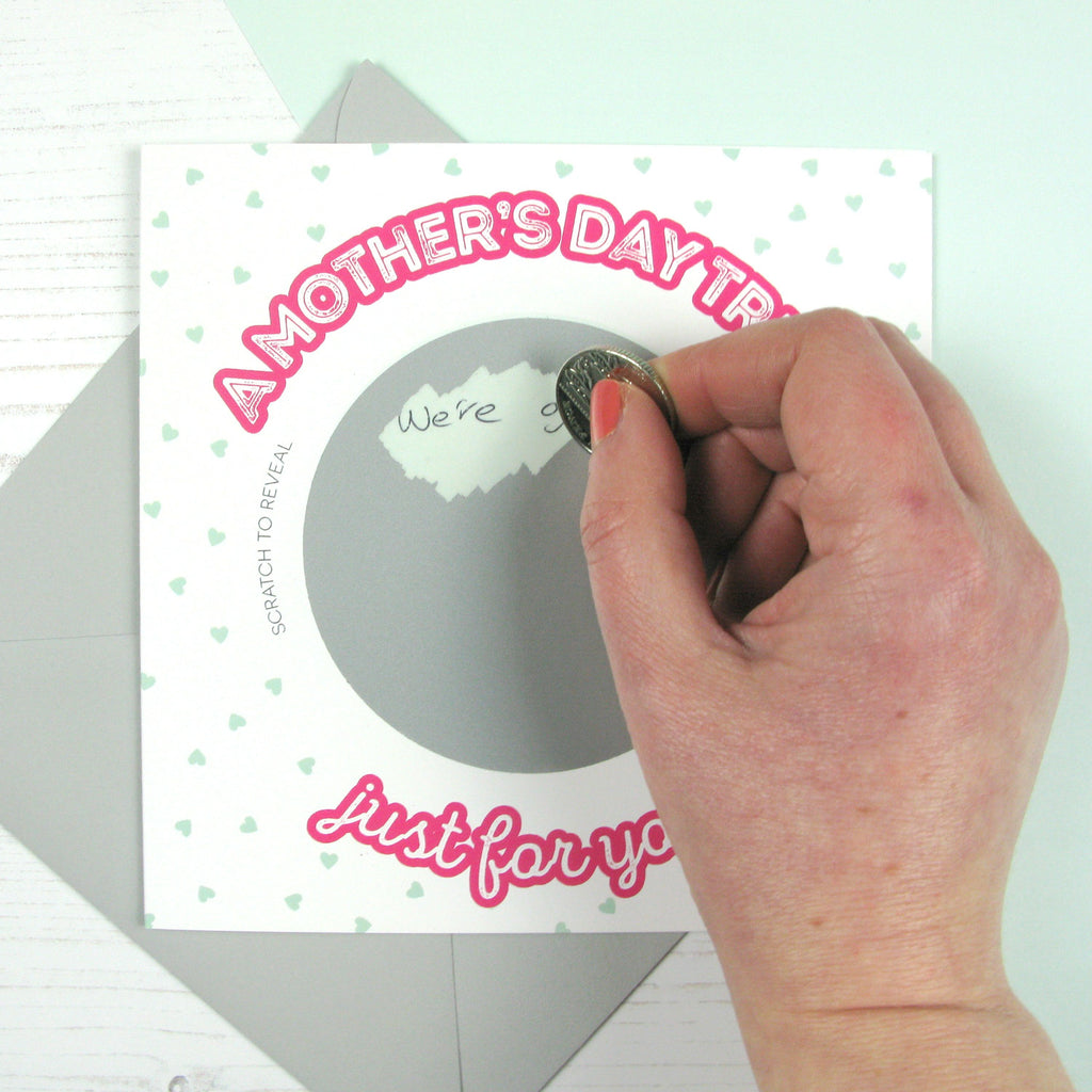 Scratch card 'A Mother's day treat just for you!' - scratching the card