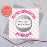Scratch card 'A birthday surprise just for you!' pink