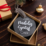 Personalised First Christmas Decoration 'Nadolig Cyntaf'