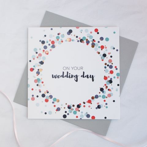 On your wedding day copper foil card - Draenog
