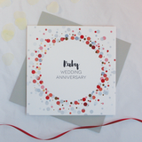 Ruby wedding anniversary copper foil card - Draenog