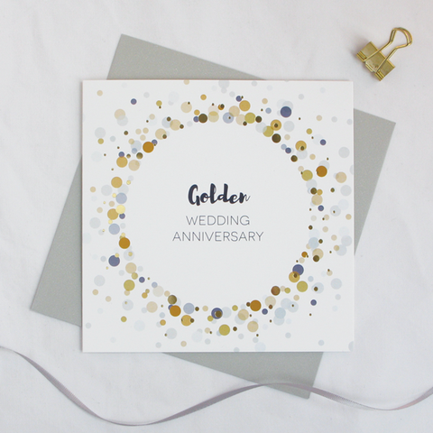 Golden wedding anniversary gold foil card - Dreanog