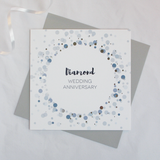 Diamond wedding anniversary silver foil card - Draenog