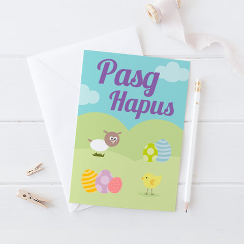 Easter card 'Pasg Hapus' sheep