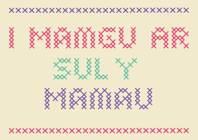 Mother's Day card 'I Mamgu ar Sul y Mamau' Gran - cross stitch - Draenog