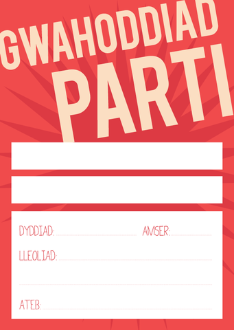 Red party invitations - set of 6 - Draenog