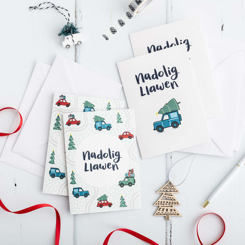 Nadolig Llawen Welsh Christmas Card Set of 4 or 6 - Driving Home for Christmas