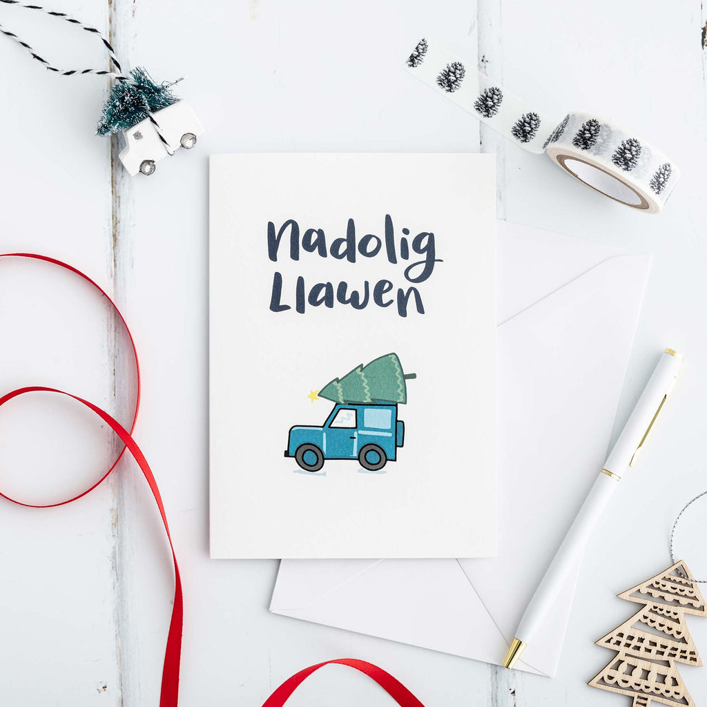Nadolig Llawen Welsh Christmas card - Land Rover