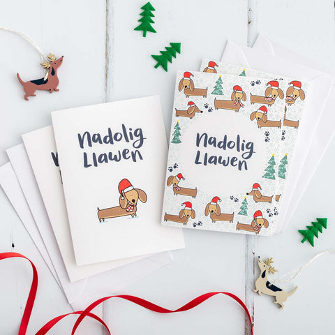 Nadolig Llawen Welsh Christmas Card Set of 4 or 6 - Dachshunds