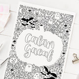 FREE Welsh downloadable colouring page - Calan Gaeaf / Halloween