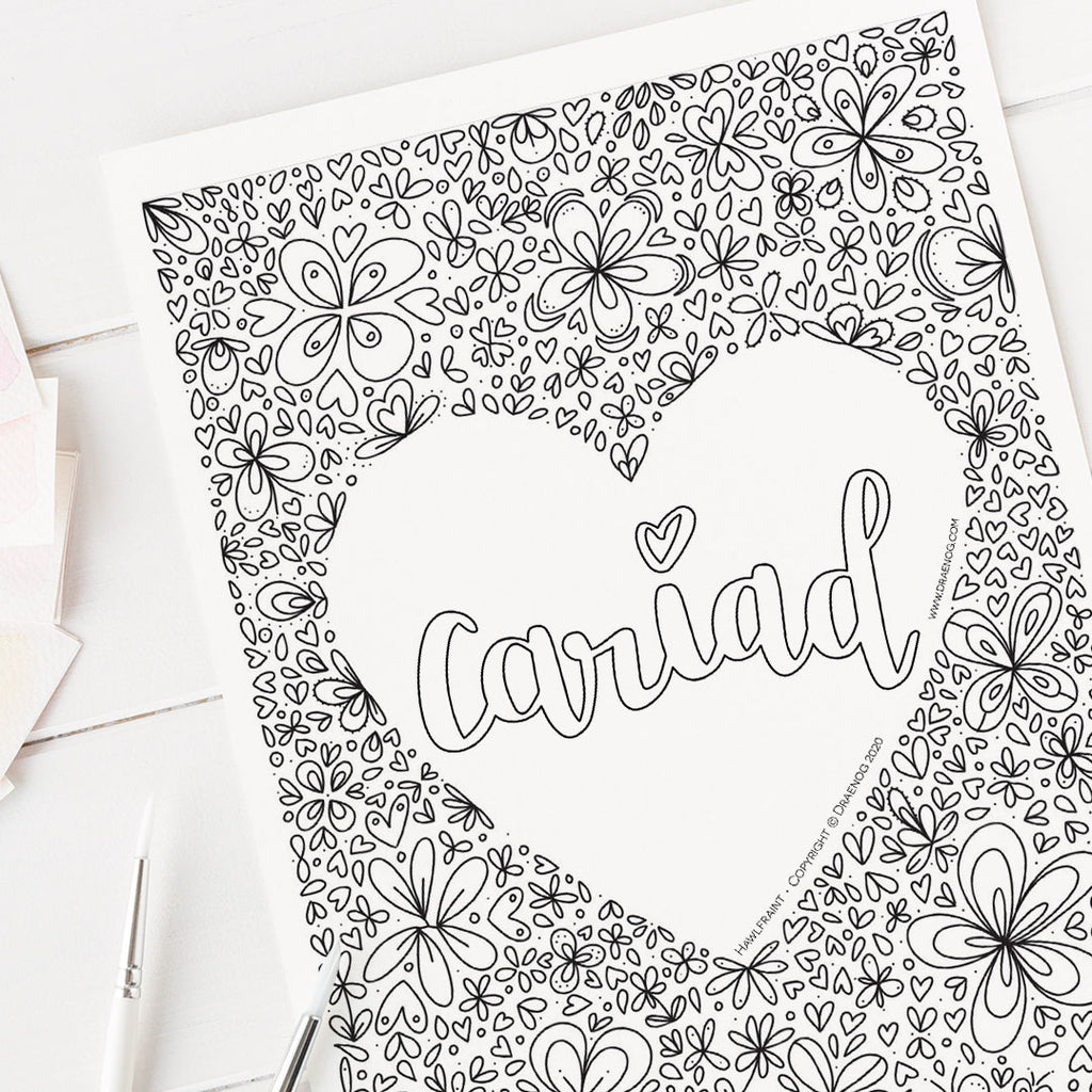 FREE Welsh downloadable colouring page - Cariad