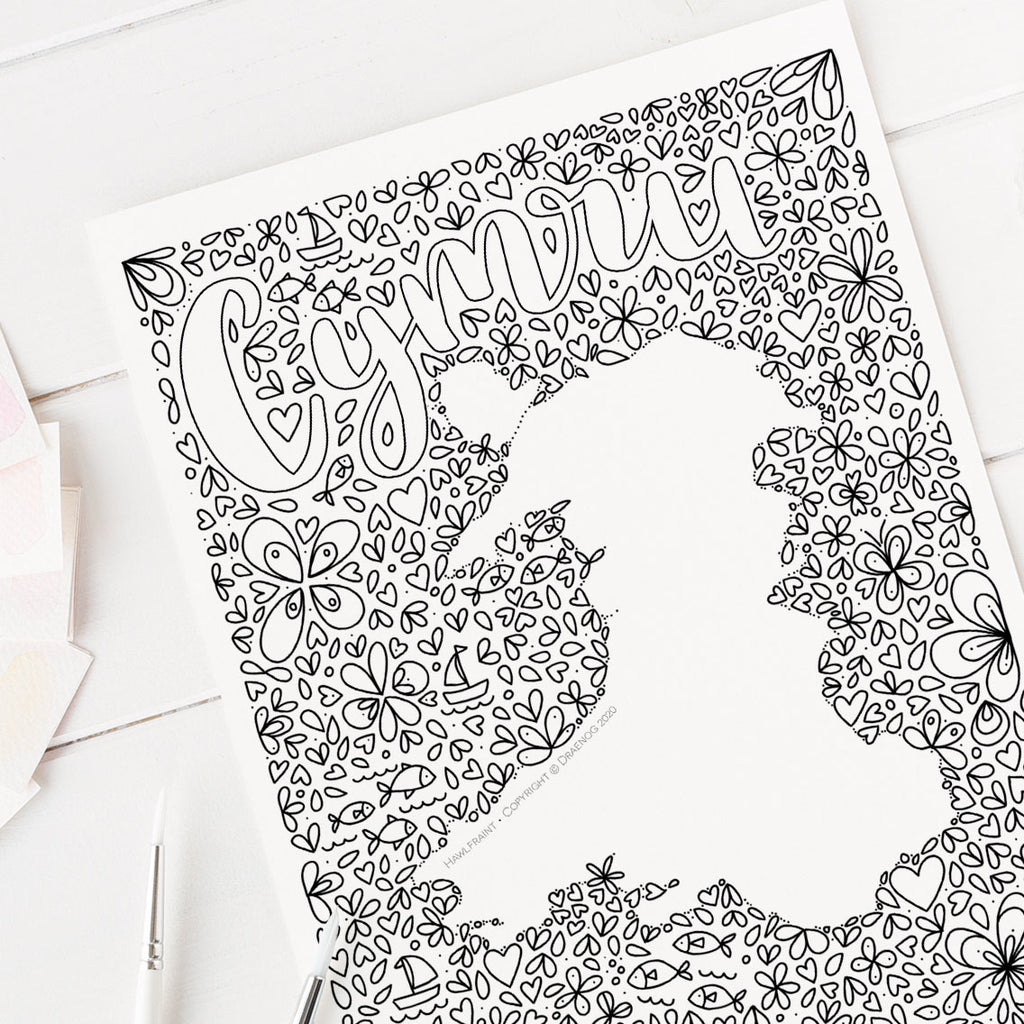 FREE Welsh downloadable colouring page - Cymru
