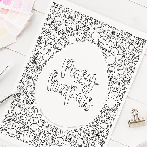 FREE Welsh downloadable colouring page - Pasg Hapus / Happy Easter