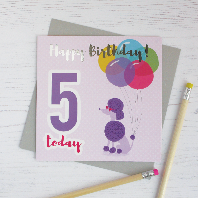 Happy birthday age 5 poodle silver foil card - Draenog