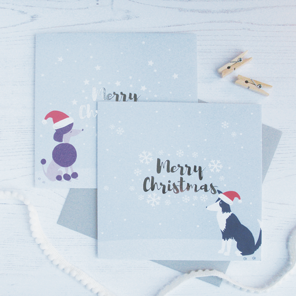 Merry Christmas Mitzi & Cadi silver foil cards - pack of 4 - Draenog