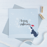 Merry Christmas silver foil Cadi the sheep dog card - Draenog