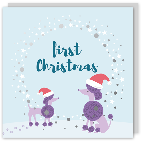 First Christmas silver foil card – Draenog