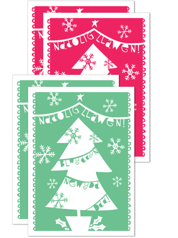 Nadolig Llawen pack of 4 Christmas mini cards