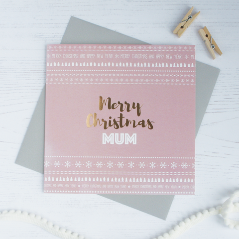 Merry Christmas Mum copper foil card - Draenog