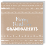 Merry Christmas Grandparents silver foil card - Draenog