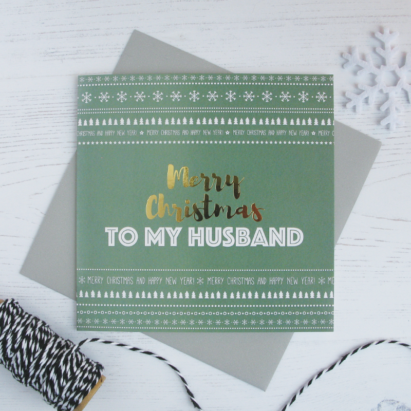 Merry Christmas Husband gold foil card - Draenog