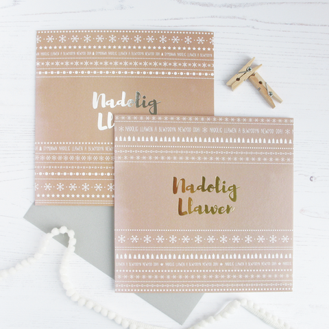 Christmas card 'Nadolig Llawen' silver / gold foil cards - pack of 4 - Draenog