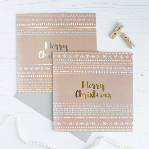 Merry Christmas gold / silver foil cards - pack of 4