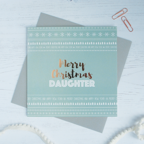 Merry Christmas Daughter copper foil card - Draenog