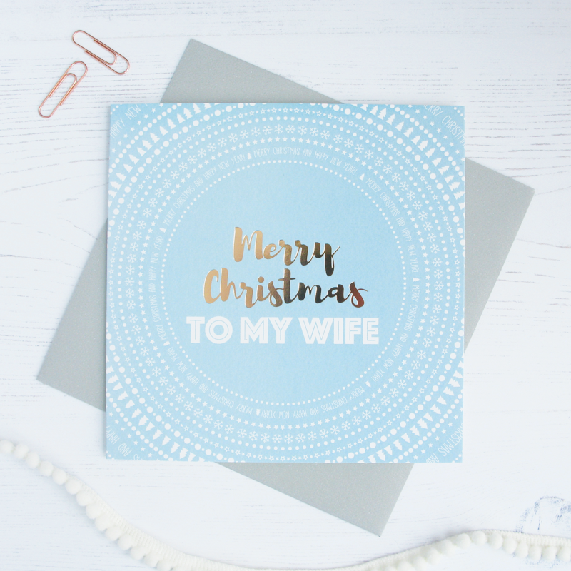 Merry Christmas Wife copper foil card - Draenog