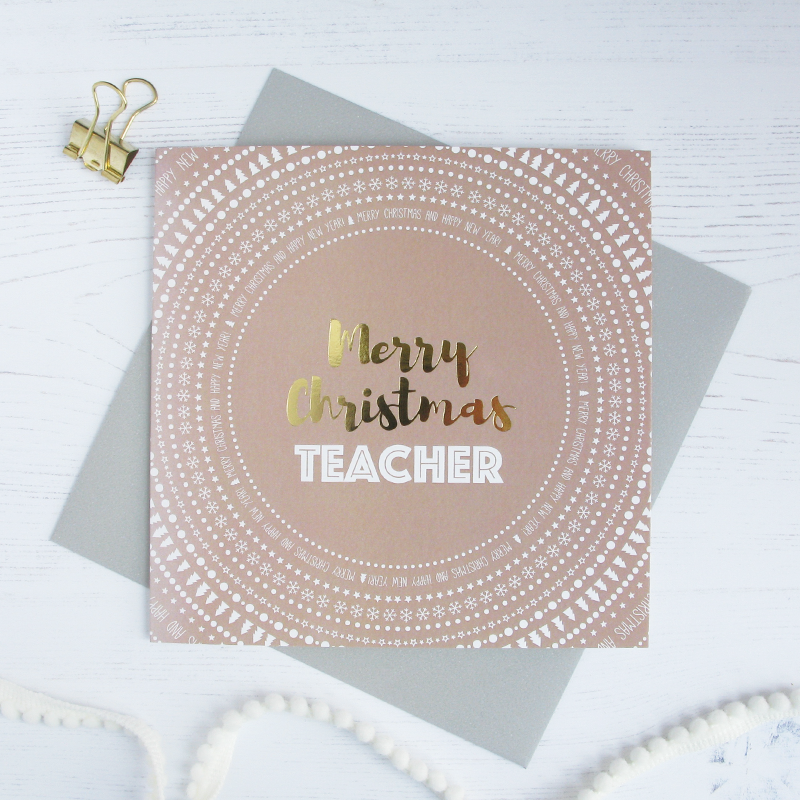 Merry Christmas Teacher gold foil card - Draenog