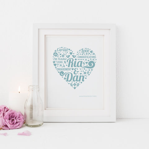 Personalised engagement print - Ria and Dan - Draenog