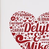 Personalised wedding print - Delyth and Mike close up of detail - Draenog