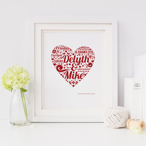 Personalised wedding print - Delyth and Mike - Draenog